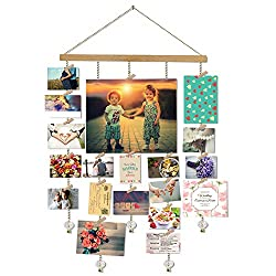 Olakee O-KIS Hanging Photo Display, DIY Picture Photo Frame Collage Set Includes Wood Clips, Natural Wood, Golden Chain with Crystal Pendant 16×29 inch Natural Color
