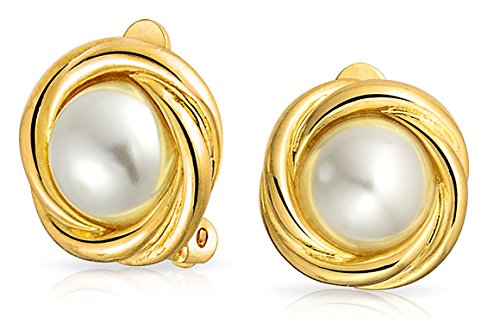 - Cable Bezel Set Dome White Simulated Pearl Clip On Earrings For Women Non Pierced Ears 14K Gold Plated Brass