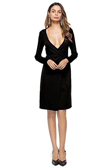 Image Unavailable. Image not available for. Color  ONine Women s Deep V Neck  Long Sleeve Wrap Dress ... 5dcd2344d