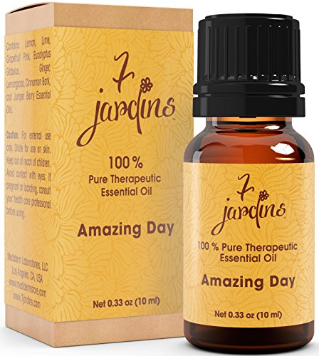 Amazing Day Energy Boost Synergy Blend Essential Oil 100  Pure   Natural Therapeutic Grade 10 Ml   Energizes  Uplifts   Lemon  Lime  Grapefruit Pink  Eucalyptus Globulus  Ginger  Lemongrass