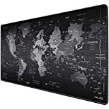 JIALONG Large Gaming Mouse Pad, Extended Mousepad with Durable Stitched Edges, Ideal for Desk Cover, Computer Keyboard, PC and Laptop - World Map