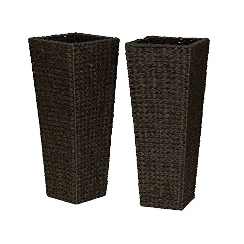 Hyacinth Planter (Household Essentials ml-5018 Resin Wicker Floor Vase Planters, 2 Piece)
