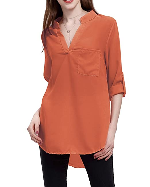 MISSMAO Mujeres Camisa Elegante Blusa Mangas Largas Camiseta Chiffón Polsillo Escote V Rojo 5XL