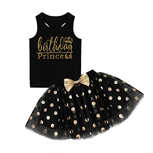 dPois Little Princess Girls' First Birthday Outfits Glittery Monogram Tank Top with Polka Dot Skirts 2 Pieces Set Black 3-4