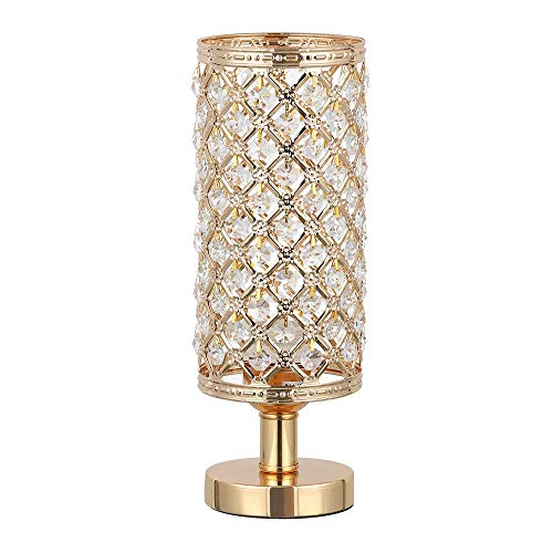 HAITRAL Gold Crystal Table Lamp - Vintage Nightstand Gold Lamp with Clear Crystal Beads Lampshade Metal Base Stylish Decorative Lamps for Bedroom, Living Room, Dresser, Nightstand (BD017G) ()