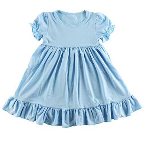 Wennikids Little Baby Girls' Short Sleeve Cotton Princess Dress Large Light Blue