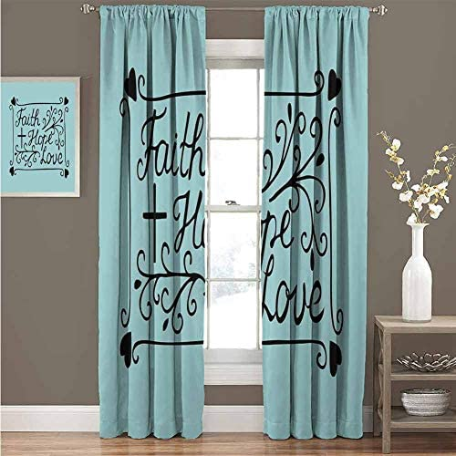 GUUVOR Hope Heat Insulation Curtain Hand Lettering Spiritual Faith Hope Love Quote with Floral Arrangement Hearts for Living Room or Bedroom Curtain 100 Wide x 84 Long Pale Blue and Black