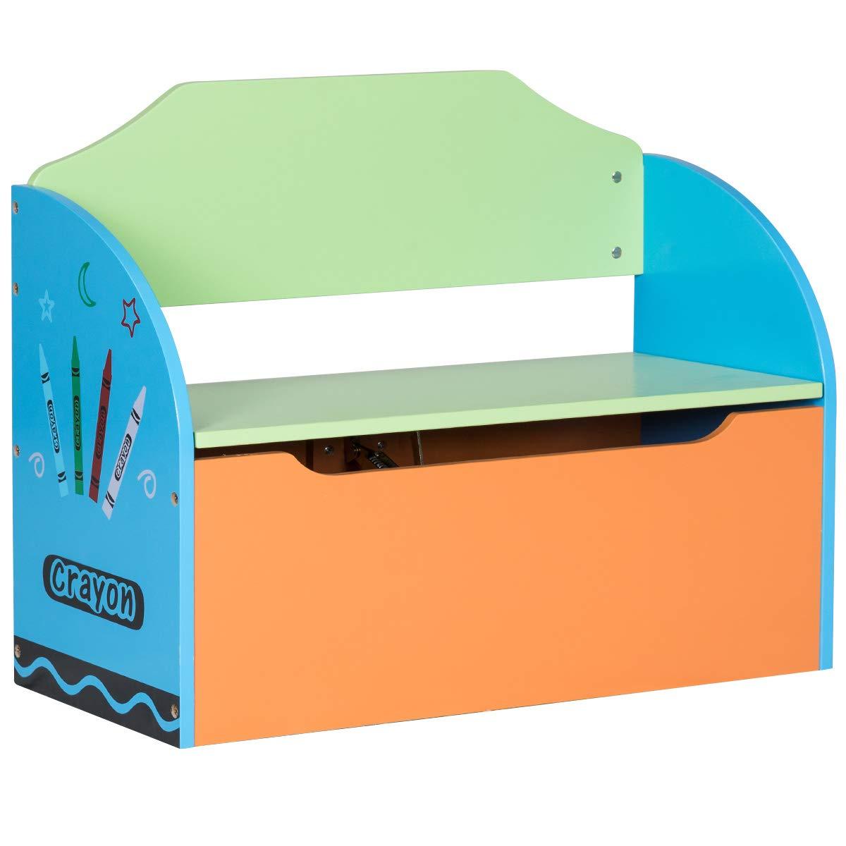 COSTWAY Spielzeugtruhe für Kinder, Spielzeugkiste für Kinderzimmer, Spielzeugbox mit Deckel, Truhenbank für Spielzeug, Kinderbank mit Stauraum