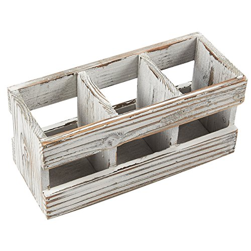 Wood Desk Organizer - 3 Compartment Distressed Torched Wooden Stationary Storage Caddy - Pens and Office Supplies Holder
