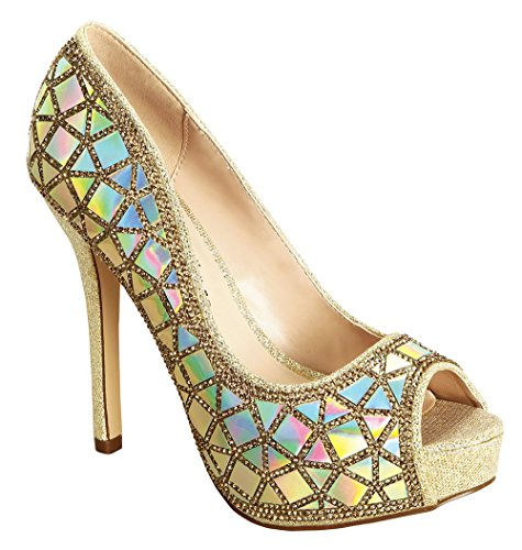 De Blossom Collection Blsm Carina-33 Open Peep Toe Dressy High Heel Platform Stiletto Heel Pump Gold 6.5