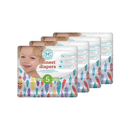 Honest Baby Diapers, Painted Feathers, Size 5, 100 Count