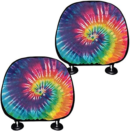 SEANATIVE Rainbow Tie Dye Print Decorative Car Headrest Cover Auto Interior Protector Cover Head Rest Cover Elastic Universal Fit Covers Full Set of 2