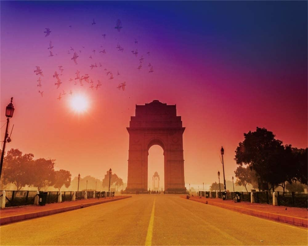 AOFOTO 10x8ft Sunset Triumphal Arch Avenue Backdrop France Landmark Paris City Landmark Street Background for Photography Historical Building Adult Kid Artistic Portrait Travel Photo Studio Prop Vinyl