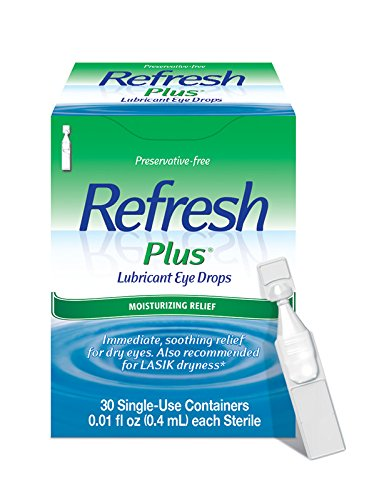 - Refresh Plus Lubricant Eye Drops, 30 Single-Use Containers, 0.01 fl oz (0.4mL) Each Sterile