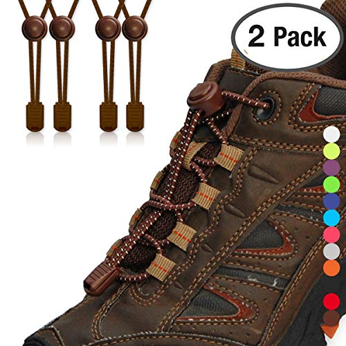 (StoutGears No Tie Shoelaces with Lock System | Elastic Shoe Laces for Sneaker (2 Packs, Brown-Brown))