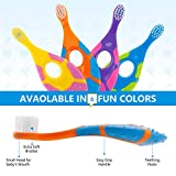 Slotic Baby Toothbrush & Toddler Toothbrush for Age 0-2 Years Old | Extra Soft Bristle for Baby Teeth & Infant Gums | Easy-Grip Finger Handle & Teething Pad | Dentist Recommended | 6-Pack