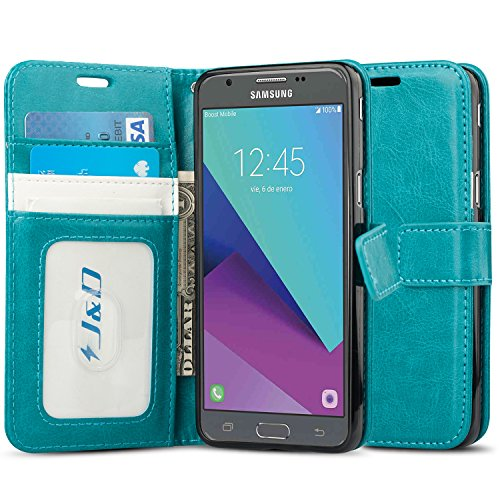 J&D Case Compatible for Galaxy J3 Emerge/J3 Prime/ J3 2017/J3 Eclipse/Sol 2/Amp Prime 2 Case, [Wallet Stand] [Slim Fit] Shock Resistant Flip Cover Wallet Case for Samsung Galaxy J3 Emerge Wallet Case
