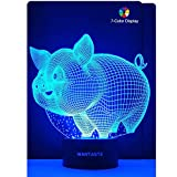 WANTASTE 3D Pig Lamp, Optical Illusion Night Light for Room Decor & Nursery, Cool Birthday Gifts & 7 Color Changing Toys for Girls & Boys For Sale