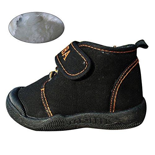 KVbaby Kinders Canvas Lauflernschuhe - Weiche Winter Warme Schuhe Anti Slip Boots - mit Klettverschuß für Baby Mädchen Jungen - Schwarz / Blau / Rosa Schwarz