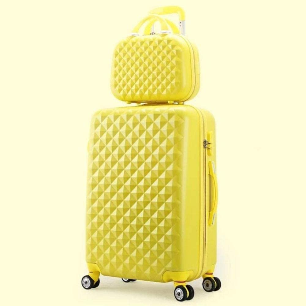 LWJ Rolling Luggage Set Women Trolley Suitcase Girls Pink Spinner Carry on Luggage Travel Bag vs Cosmetic Bag,Yellow(Set),20