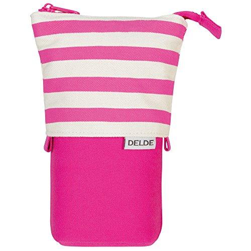 DELDE Pen Case, Pop Pink Stripe