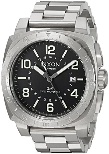 - Nixon Men's Charger GMT Swiss-Quartz Watch with Stainless-Steel Strap, Black, 22 (Model: A10882474-00)