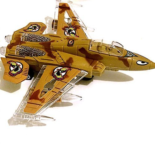 Military Fighter Jet Bump & Go Action Airplane Toy with LED Flashing Lights & Sounds (Electric Fighter Jet)