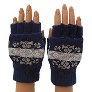 Convertible Fingerless Glove Mittens - Hand Knit - Great for Texting - Fair Isle (Navy Blue)