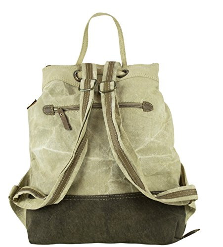 Shoulder Bag Handbag Vintage Canvas Backpack Of Leather Sunsa 51713 With Women's wqFCnEW5I