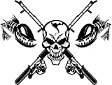 Mandy Graphics Death Skull Fishing Pole Fish Bones Vinyl Die Cut Decal Sticker for Car Truck Motorcycle Windows Bumper Wall Home Office Decor Size- [12 inch/30 cm] Wide and Color- Gloss Black