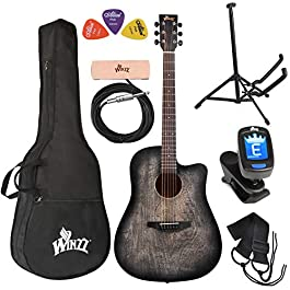 WINZZ 41 Inches Cutaway Carved Acoustic Guitar Beginner Starter Bundle with Padded Bag, Stand, Tuner, Pickup, Strap…