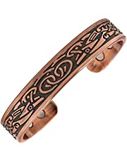 Reevaria - Pure Copper Magnetic Heavyweight Cuff Bracelet for Men, with 8 Magnets 3500 Gauss- Recovery and Pain Relief - Arthritis, Golf and Other Sports, Carpal Tunnel