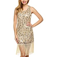 Angvns Women's 1920S Paisley Sequined Tassel Glam Party Gatsby Dress (Several Colors)
