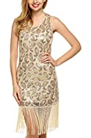 ANGVNS Women's 1920s Gastby Sequined Embellished Fringed Paisley Flapper Dress