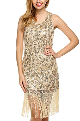 ANGVNS Women's 1920S Paisley Sequined dress Tassel Glam Party Gatsby (Orange Flapper Dress)