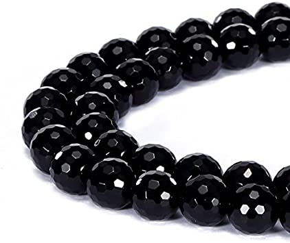 jennysun2010 Natural Black Obsidian Gemstone 6mm Smooth Round Loose 60pcs Beads 1 Strand for Bracelet Necklace Earrings Jewelry Making Crafts Design Healing