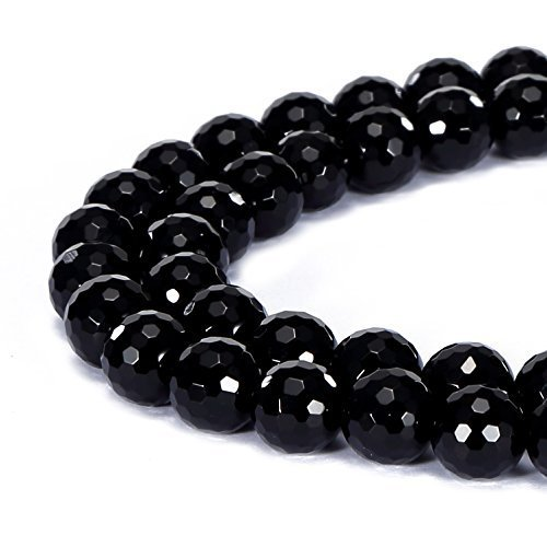jennysun2010 Natural Black Onyx Gemstone 4mm Faceted Round Loose 90pcs Beads 1 Strand for Bracelet Necklace Earrings Jewelry Making Crafts Design Healing