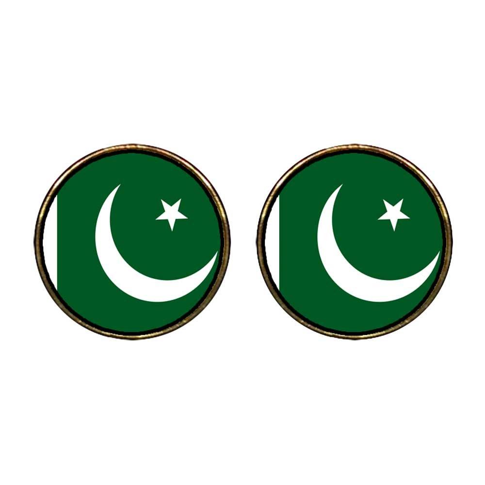 GiftJewelryShop Gold Plated Pakistan flag Photo Stud Earrings 12mm Diameter