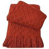 Battilo Throw Blanket Textured Solid Soft Sofa Couch Decorative Knit Blanket, 51'' x 59'' (orange-red)