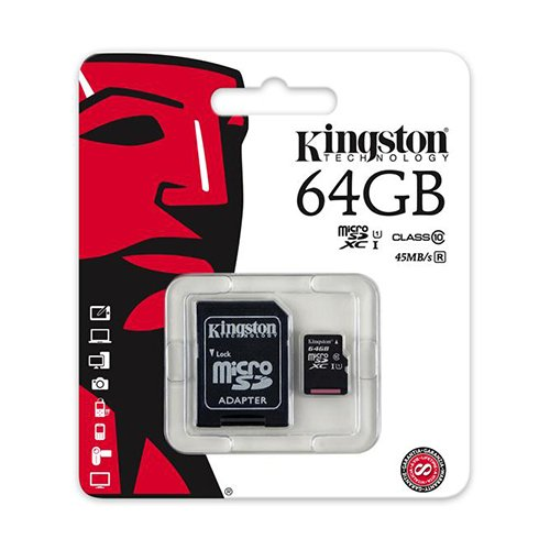 2 PACK - Kingston 64GB MicroSD XC Class 10 UHS-1 TF MicroSDHC TransFlash 45MB/s Read High Speed Memory Card SDC10G2/64GB LOT OF 2 with SD Adapter and MemoryMarketMicroSD & SD Memory Card Reader