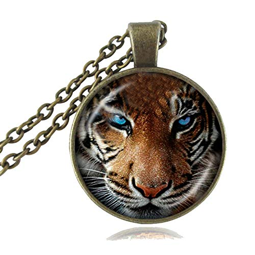 Tiger Necklace Nature Big Cat Pendant Jungle Wildlife Animal Jewelry Glass Cabochon Silver Bronze Sweater Necklace for Lover ()