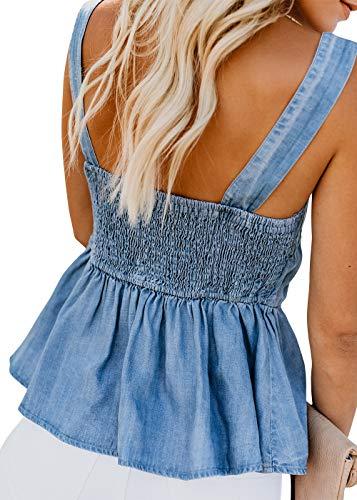 Pofash Women's Denim Ruffle Hem Back Pleated Doll Cami Tank Tops Blouse Shirt Light Blue Small