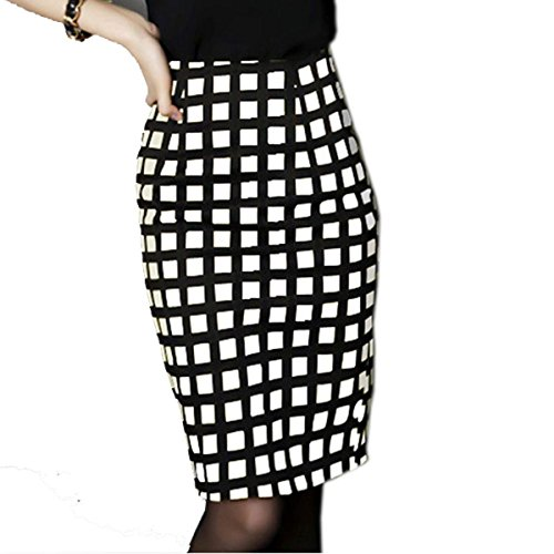 Vshop-2000 Women Package Grid Pattern Pencil Fitted Stretch Skirt