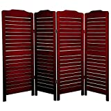 Oriental Furniture Modern Formal Decor 48-Inch Low Venetian Slatted Folding Partition Room Divider, Rosewood 4 Panel