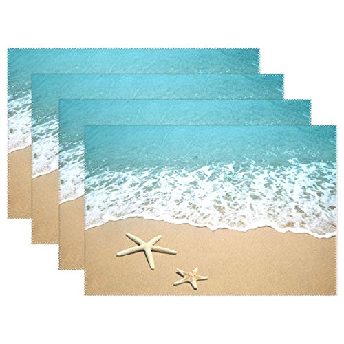 (INGBAGS Placemats Starfirsh on Beach Seaside Place Mats Dining Table Mats Waterproof Non-Slip Nonstick Heat Resistant Christmas Decoration 4pcs)