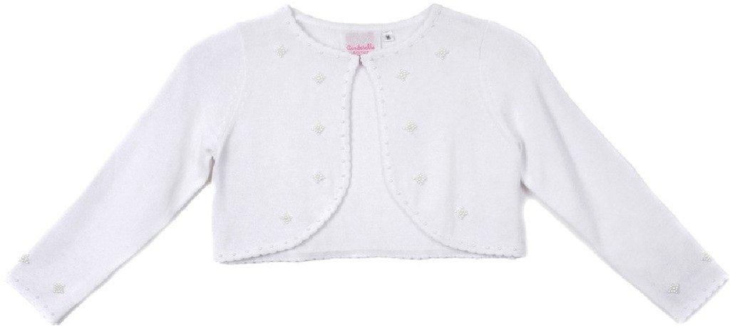Flower Girl Jacket Elegant Pearl Beaded Soft Cozy Sweater for Little Girl White S C30.10C