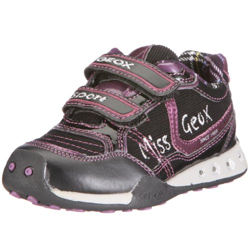 Geox Toddler Jr Jocker Girl Sneaker,Black/Purple,34 EU (3 M US Little Kid)