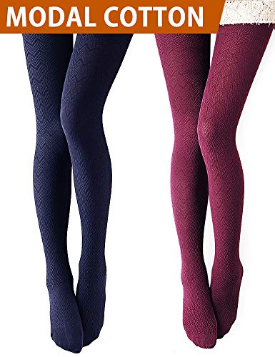 VERO MONTE 2 Pairs Women's Modal & Cotton Opaque Knitted Patterned Tights (Wine & Navy) 40863