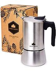 Groenenberg Cafetera italiana inducción, 6 tazas (300ml) | Cafetera Espresso de acero inox | Moka expresso maker incl. junta de silicona de recambio e instrucciones paso a paso | Sin aluminio
