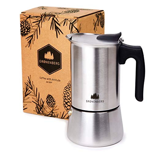 Groenenberg Espresso Maker | Moka Pot Induction | 4-6 Cup stovetop Coffee Maker (200-300 ml) | Stainless Steel Italian…